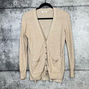 Madewell // Tan Micro Waffle Knit Cardigan Sweater